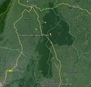 Map of Kibale Forest National Park